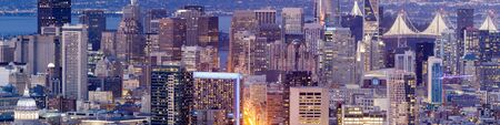San Francisco Downtown Panorama. Crowded Skyline from Twin Peaks on a Clear Evening.