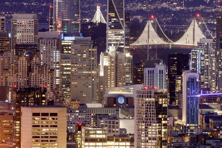 San Francisco Downtown Details. Crowded Skyline from Twin Peaks on a Clear Evening.