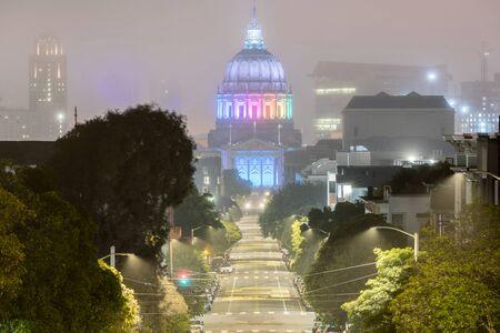 SF City Hall 2020 Pride Week. San Francisco City Hall lit in Rainbow celebrating Pride Week 2020 on a foggy summer night.