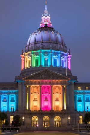 San Francisco City Hall Lit in Rainbow Colors, in Celebration of the 2020 Pride Week