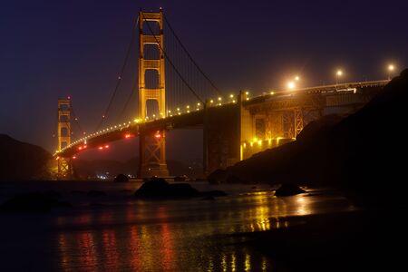 Golden Gate Bridge and Reflections Glow in the Dark, via Marshall's Beach Stock fotó