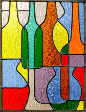 Retro Bottles and Vases Colorful Stained Glass Window Panel