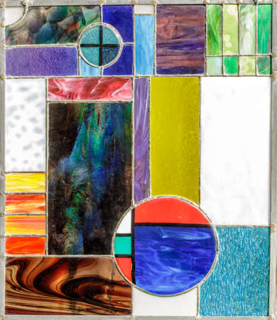 Abstract Geometric Stained Glass Window Panel, Inspired by Frank Lloyd Wright