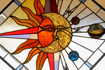 Celestial Abstract Stained Glass Window Panel Stock fotó