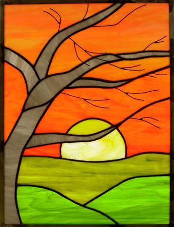 Stained Glass Window Panel of Birch Sunrise Stock fotó
