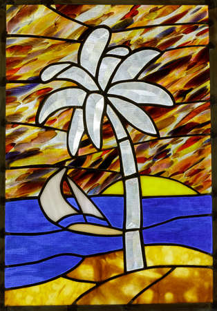 Stained Glass Window Panel of a Tropical Beach Stock fotó