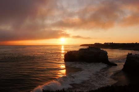 Sunset over Natural Bridges State Beach in Santa Cruz, California Stock fotó