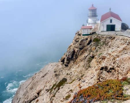 Point Reyes Light in Fog. Point Reyes National Seashore, Marin County, California, USA. Stock fotó