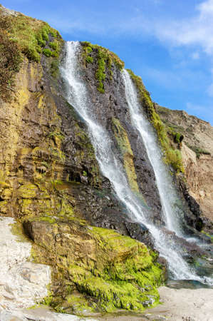 Alamere Falls at Alamere Creek Beach. Alamere Falls at Alamere Creek Beach.