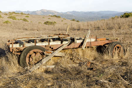 Ruins of Old Ranch Wagon. La Honda Creek Open Space Preserve, San Mateo County, California, USA.