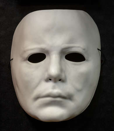 Face Mask Halloween Costume Isolated Against Black Background Reklamní fotografie