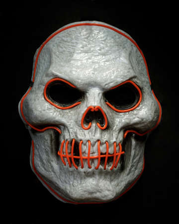 Doom El Wire Light Up Skeleton Face Mask Isolated Against Black Background Фото со стока
