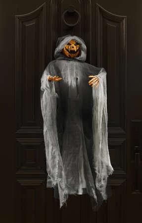 Pumpkin Ghost Hanging on a Door Halloween Home Décor