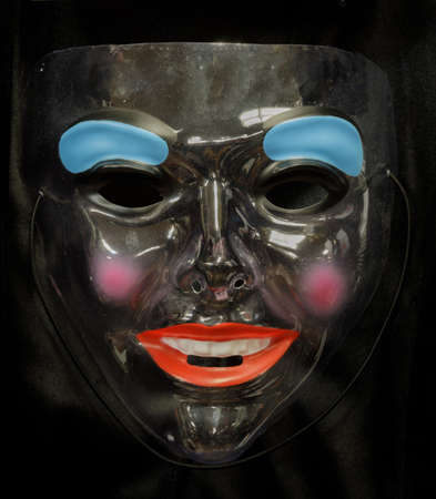 Funny Woman Face Mask Isolated on Black Background