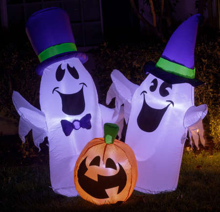 Yard Inflatable Ghosts and Pumpkin Glow in the Dark