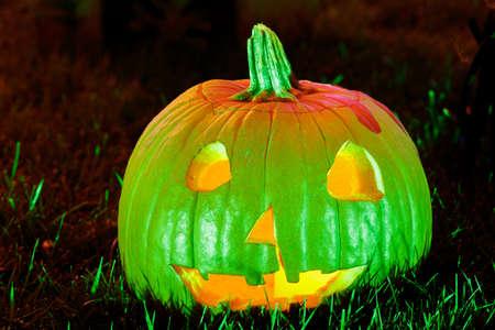 Colorful Jack O Lantern Lighting Up the Night for Halloween Season