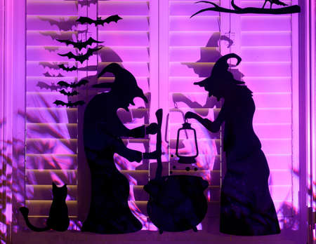 Cooking Witches Halloween Decorations Light-Up Window Blinds