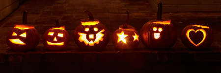 Variety of Jack O Lanterns with Artistic Twist Glowing in the Dark