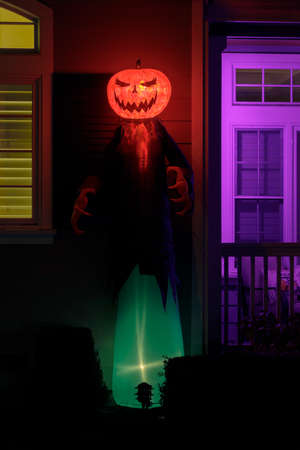 Fire and Ice Jack-O-Reaper Inflatable Light-Up Decorations Фото со стока
