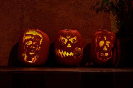 3 Jack O Lanterns with Artistic Twist Glowing in the Dark