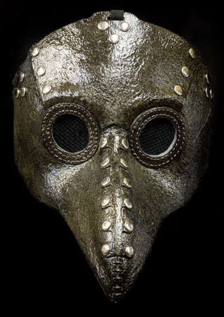 Plague Doctor Mask Isolated Against Black Background Фото со стока