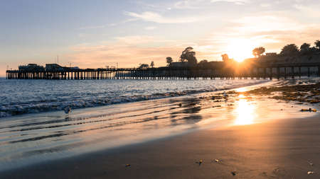 Sun Setting over Capitola Wharf. Capitola, Santa Cruz County, California, USA.