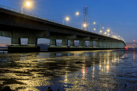 The Dumbarton Bridge during the Blue Hour Looking East.