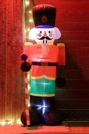 Christmas Inflatable Toy Soldier Holiday Nutcracker Lighted Blow up Home Decoration Stock Photo