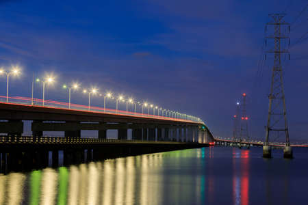 The San Mateo-Hayward Bridge and Electricity Towers via Foster City during the Blue Hour