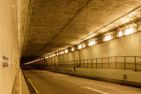 Inside Webster Street Tube, an underwater tube tunnel connecting the cities of Oakland and Alameda, California. Stock Photo