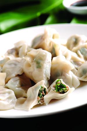 leek: Leek dumplings Stock Photo