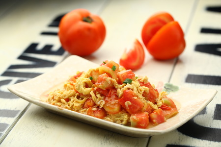 scrambled: Tomato scrambled eggs
