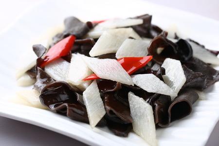 wild yam: Wild Yam fried black fungus Stock Photo