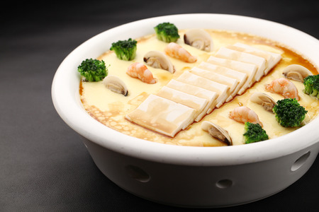 steamed: seafood tofu steamed eggs Stock Photo