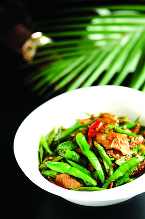long beans: delicious slices of pork