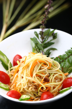 green papaya salad: Green Papaya salad Stock Photo