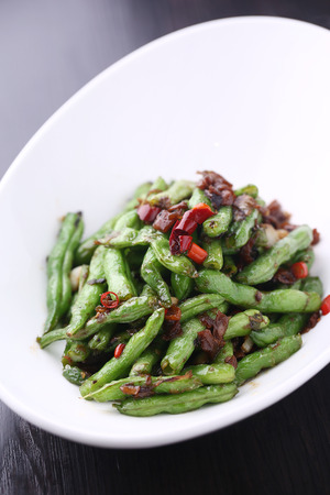 long beans: stir fried long beans and chilli