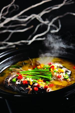 fish head: Hot and sour fish head pot
