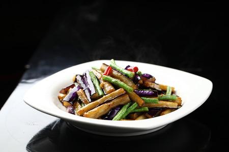 long bean fried eggplant