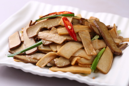 served: Stir fried bamboo shoots served on plate