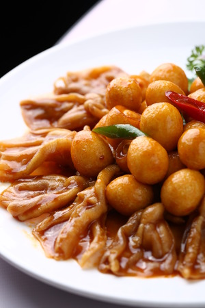 fish ball: curry fish ball with chicken leg skin