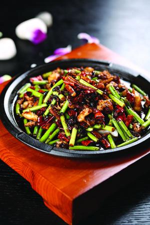 legumbres secas: Secado revuelo chile frito con calamares y verduras