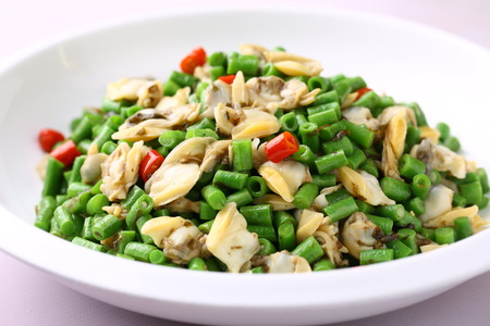 long bean: Spicy long bean fried clam meat