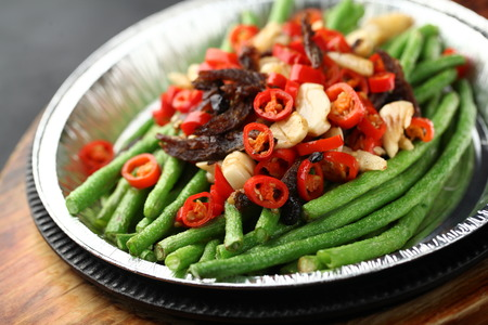 long beans: Fried long beans with chili