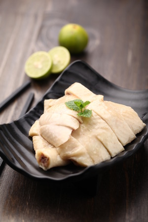 served: Steamed chicken served on a plate