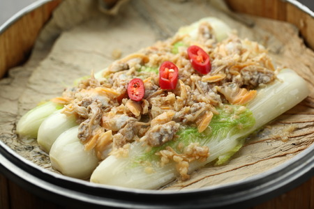 clam: steamed clam meat with cabbage Stock Photo