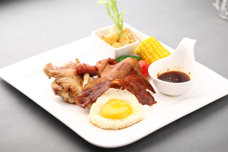 chicken and egg: Western Food Platter Stock Photo