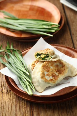 leeks: Fried dumpling with leeks