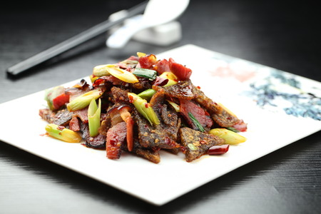 stir fried: Stir fried vegetable and meat Stock Photo