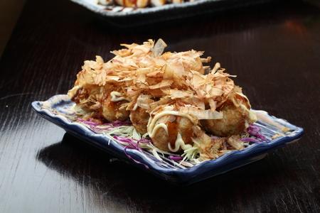 served: Takoyaki served on a plate Stock Photo